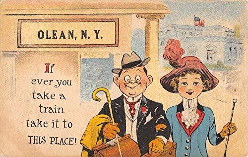 Olean New York Couple Comic Travelers Antique Postcard K106840