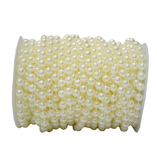 Price comparison product image BoJia 10 mm Large Ivory Pearls Faux Crystal Beads by the Roll for Flowers Wedding Party Decoration