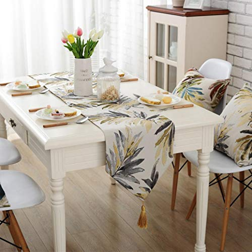 DOCOLA Leaf Pattern Tablecloth Modern Table Runner Cotton Cloth Simple Table Runner for Home Wedding Decoration
