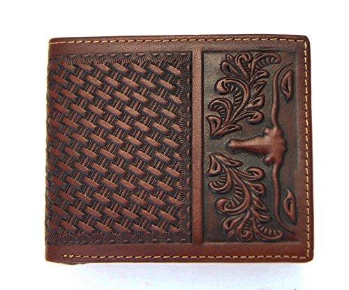 Hand Tooled Leather Wallet (Montana West Men's Genuine Leather Bi-fold Wallet Tooled Basket Weave Longhorn)