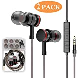 Earbud 2 Pack Headphones with Microphone Stereo Earbuds Bass Earphones with Mic and Volume Control 3.5mm Plug Compatible Multiple Audio Devices 3.9 Ft Black