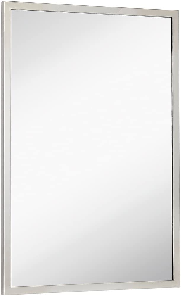 Hamilton Hills Commercial Contemporary Industrial Strength Wall Mirror Polished Stainless Metal Silver Rectangle with Mirrored Glass Vanity, Entrance, or Restroom Horizontal & Vertical (24
