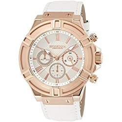 BROOKIANA Thunderbolt Chronograph Rose Gold ~ White Leather BA2308-RGWH Men's Watches