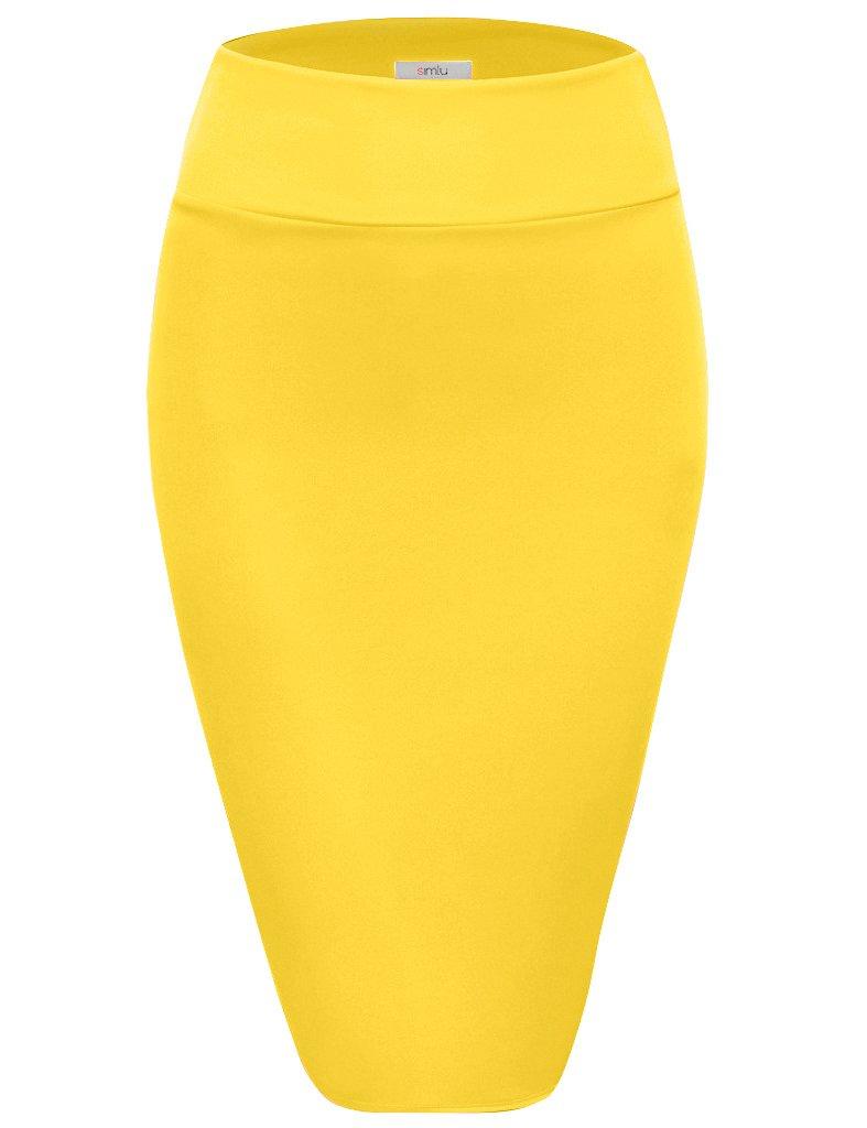 Scuba Pencil Skirt Midi Bodycon Skirt Below Knee Skirt, Office Skirt High Waist Yellow Medium