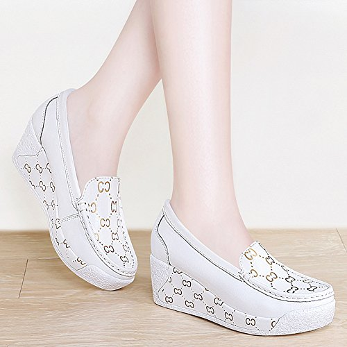 PU Heels Thick evening High Sandals shoes Shoes heeled white Court nurse White Pumps HUAIHAIZ shoes casual women shoes high shoes xAnOYY