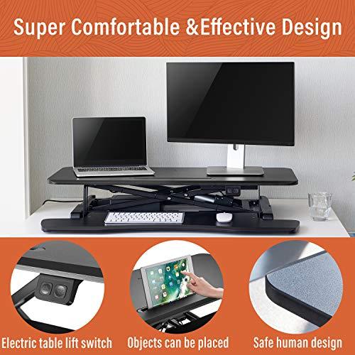 PUTORSEN® Electric Standing Desk Height Adjustable Sit Stand Desk Converter Stand Up Desk Riser Ergonomic Standing up Workstation with Keyboard Tray, 32