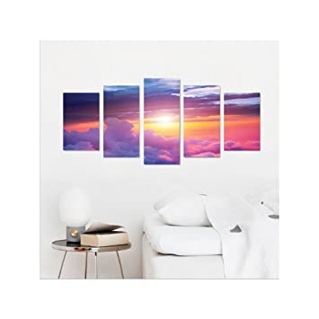 liguo88 custom canvas apartment decor wall hanging sunset scene between sky and clouds with vibrant colors