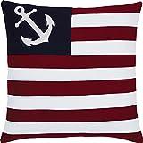 VHC Brands Americana Coastal Pillows & Throws - American Ahoy White 18'' x 18'' Pillow