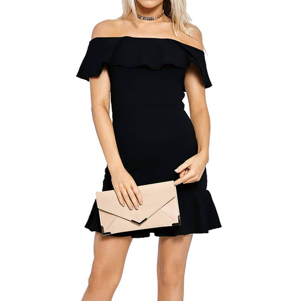 Forthery-Women Off Shoulder Ruffle High Low Cocktail Skater Swing Mini Dress(Black,US Size XS = Tag S)