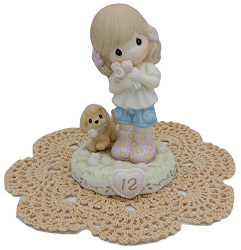 Precious Moments Growing in Grace Girl Female Collectible Figurines with Westbraid Doily Age 12, Brunette Hair