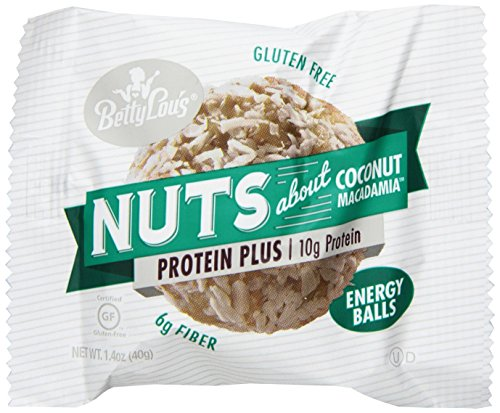 Coconut Macadamia Nut Cookies - Betty Lou's Energy Balls, Coconut Macadamia, 1.4 Ounce (Pack of 12)