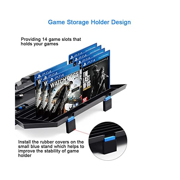 Kootek Vertical Stand for PS4 Slim / Regular PlayStation 4 Cooling Fan Controller Charging Station with Game Storage and… 4