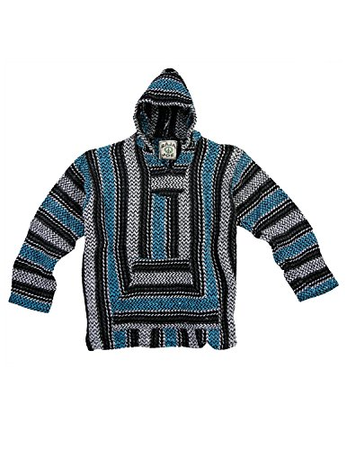 Baja Joe Eco-Friendly Woven Striped Pullover Baja Hoodie Turquoise X-Large