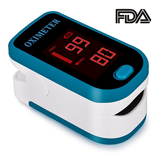Finger Pulse Oximeter by AUKA - SpO2 Device for Blood Oxygen Saturation Level Reading - Fingertip Oxygen Meter w/Alarm & Pulse Rate Monitor - Measure Accurate Oxygen Levels