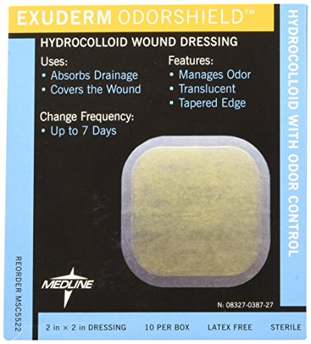 "Medline MSC5522 Exuderm Odorshield Hydrocolloid, 2"" x 2"" (Pack of 10)"