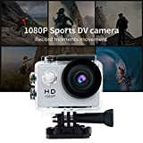 30M Waterproof Sport DV-Mini Sports 1080P HD Action Camera A9 120°Wide-angle Lens for Free Accessories Kit and Waterproof Case (Sliver)