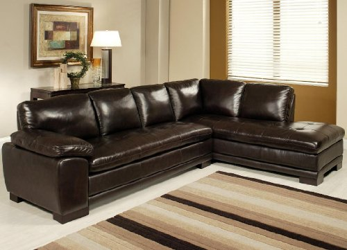 Abbyson Living Tivoli CI-N680-BRN Stationary Leather Sectional Sofa with Left Arm Facing Sofa and Right Arm Facing Chaise in Dark