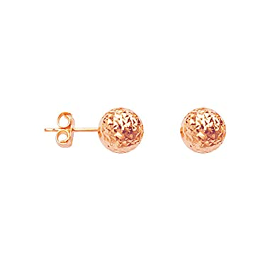364bee7df Image Unavailable. Image not available for. Color: 14k Rose Gold Ball Stud  Earrings Diamond-cut Texture 8mm