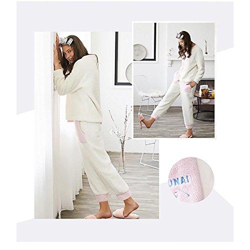 Flanella Impostato Vestaglia Donna 2 Caldo Pezzi White Inverno CRYP Pigiama SYqRn8E8P