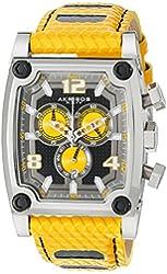 Akribos XXIV Men's AK611YL Explorer Swiss Chronograph Yellow Leather Strap Watch