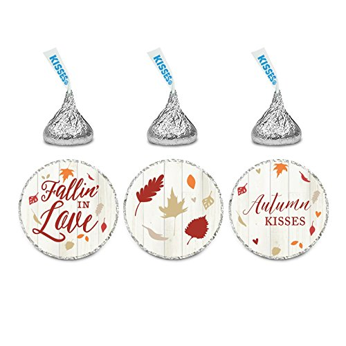 Andaz Press Fallin' in Love Autumn Fall Leaves Wedding Party Collection, Chocolate Drop Label Stickers Trio, 216-Pack, Fits Hershey's Kisses Party Favors -