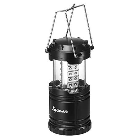 Tquens L400 Camping Lantern with Auto On Off Function and Collapsible and water resistance and Battery Operated for Outdoors, Camping, Hiking, Fishing, Emergency – Black