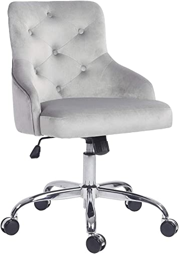 Five Stars Furniture Home Office Chair,Tufted Velvet Button Computer Desk Chair Adjustable Height Swivel Task Chair Grey