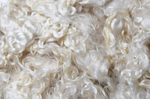 - Natural Cream White Washed Real Kid Mohair Locks Fiber 1 Oz