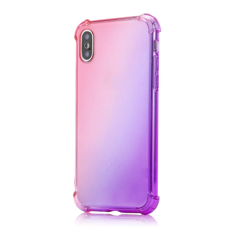 Newest Release Rainbow Shock Absorption Clear TPU Four Corners Drop Full Protective Case Cover for iPhone XS/iPhone XS Max (D, iPhone XS Max 6.5inch)