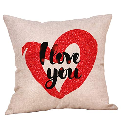 VECDUO Clearance Sale! Sweet Happy Valentine's Day Colorful Heart Print Pillow Case, 18x18 -