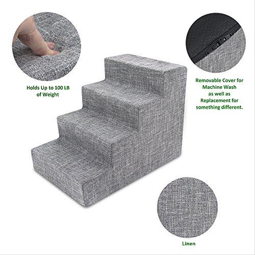 Medium Step - Best Pet Supplies Foam Pet Stairs 4-Step - Gray Linen, Medium (24 x 15 x 18 inches)