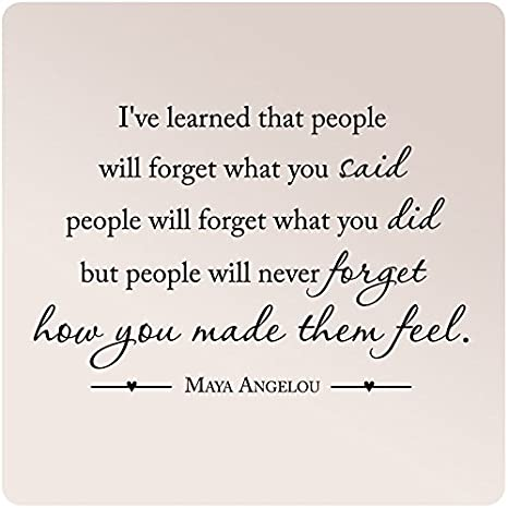 """Amazon.com: 35""""x24"""" Maya Angelou I've Learned That People Will Forget What  You Said Did Never How You Made Them Feel Wall Decal Sticker Art Mural Home  Decor Love: Home & Kitchen"""
