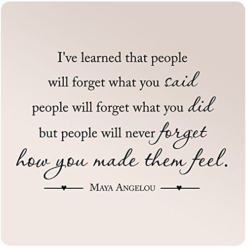 "35""x24"" Maya Angelou I've Learned That People Will Forget What You Said Did Never How You Made Them Feel Wall Decal Sticker Art Mural Home Decor Quote Love"