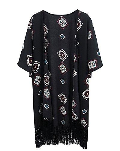 Kimono Manteau Mousseline Floral t Tops De Gland Cardigan Manche Blouse Plage Veste Courte Femmes Noir Cardigan Casual Outwear qP1xwcR