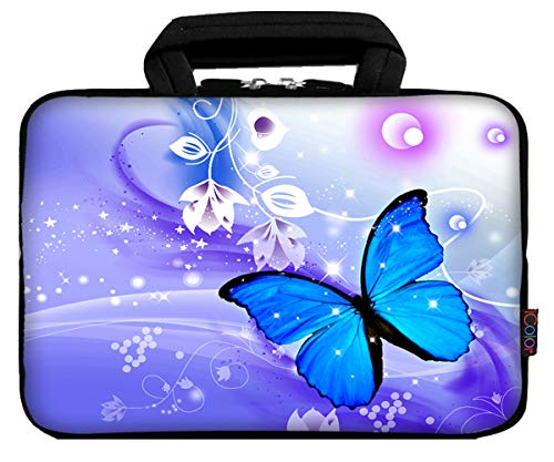 iColor 12 Laptop Handle Bag 11.6 12.2 inch Neoprene Notebook Tablet Sleeve Computer PC Carrier Protection Cover Case Pouch (Blue Butterfly)