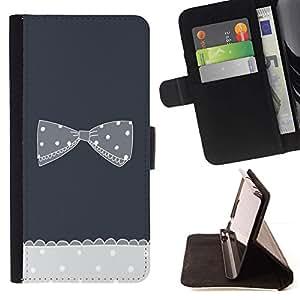 Momo Phone Case / Flip Funda de Cuero Case Cover - Noir Blanc à pois gris - Samsung Galaxy Core Prime
