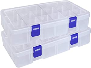 Qualsen Plastic Compartment Box with Adjustable Dividers Craft Tackle Organizer Storage Containers Box (18 Grid x 2, Clear)