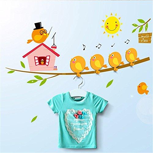 Katoot@ Storage Hooks Hanger Wall Stickers DIY Cute Cartoon Bird Train Ballon Home Self Adhesive For Children Room Home House Decor (Bird)