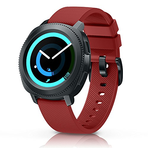 ANCOOL Compatible Gear Sport Band Replacement 20mm Silicone Watch Band Compatible Samsung Gear Sport/Galaxy Watch (42mm)/Ticwatch E/Ticwatch 2/Vivoactive 3 Watch - Small Red