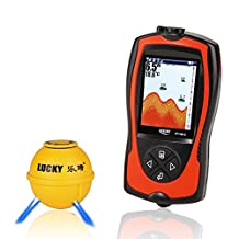 Lucky Portable Fishing Sonar Fish finder Sensor 45M Water Depth High Definition LCD Screen Echo Sounder Fishfinder with fish attractive lamp