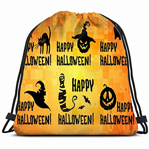 happy halloween title set pumpkin lantern holidays religion Drawstring Bag for Women Drawstring Hiking Backpack Gym Bag for Women 17X14 Inch -