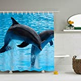 AyxjlSv Shower Curtain Twin Dolphin Waterproof Polyester Bath Curtain
