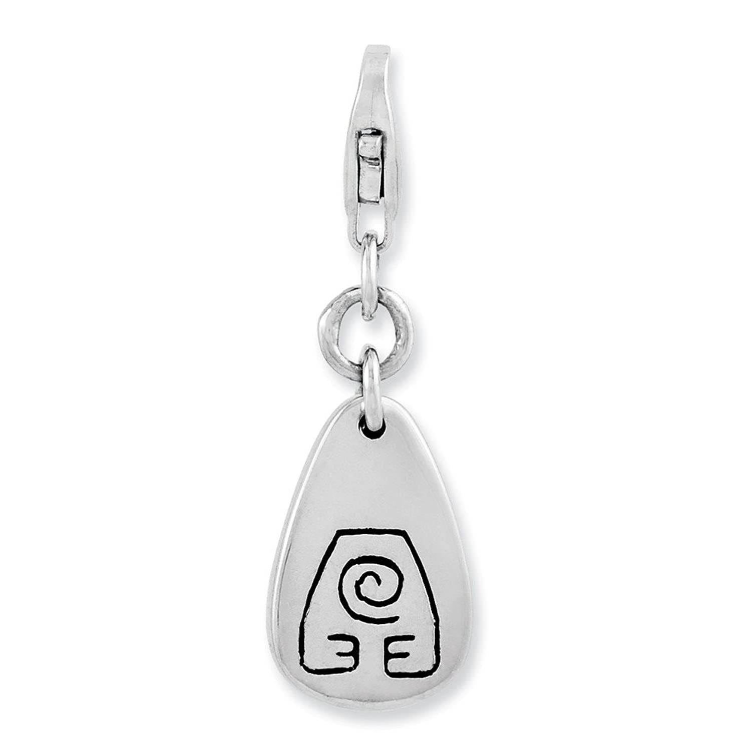 Genuine 925 Sterling Silver Flat Polished Clip On Heart Charm