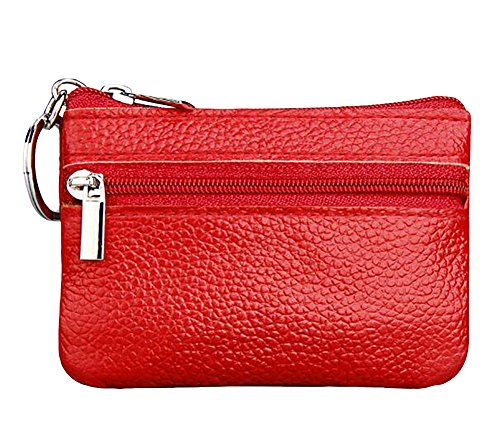 ETIAL Womens Genuine Leather Zip Mini Coin Purse w/Key Ring (Red)