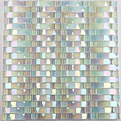 Iridescent Glass Tile Arched Crystal Backsplash Interlocking YF-89