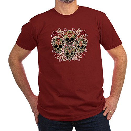 Royal Lion Men's Fitted T-Shirt (Dark) Flower Skulls Goth - Cranberry, Small]()