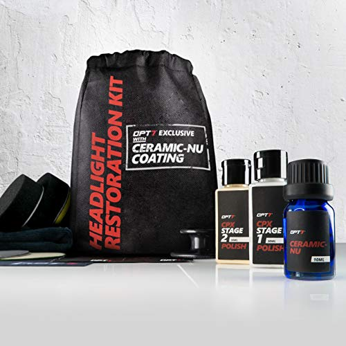 OPT7 Headlight Restoration Kit w/excl Ceramic Nu Coating - Professional Detailers Grade -Lens Polisher Drill Set.