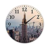 New York City Empire State Building Wall Clock Silent Non Ticking Round Home Decor Wall Clock Round Easy to Read for Home Office School Clock, 10 Inch