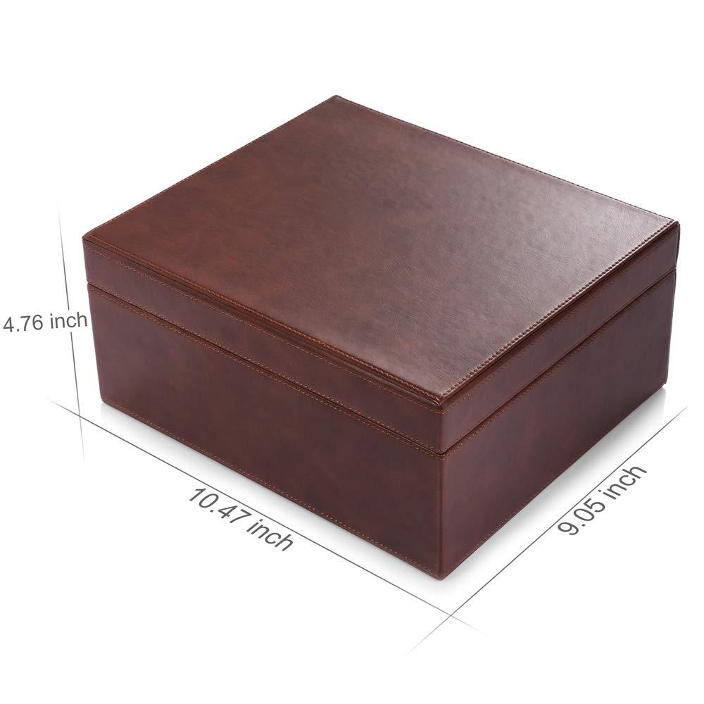 Cigar Humidor Cedar Leather  Adjustable Divider Glass Hygrometer 25-50 Cigars