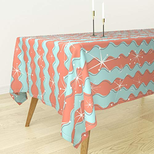 Roostery Mid-Century Modern Tablecloth - Century Modern Midcentury Modern Sputnik Starburst Star Retro Fun by Jillianobrien - Cotton Sateen Tablecloth 90 x 90
